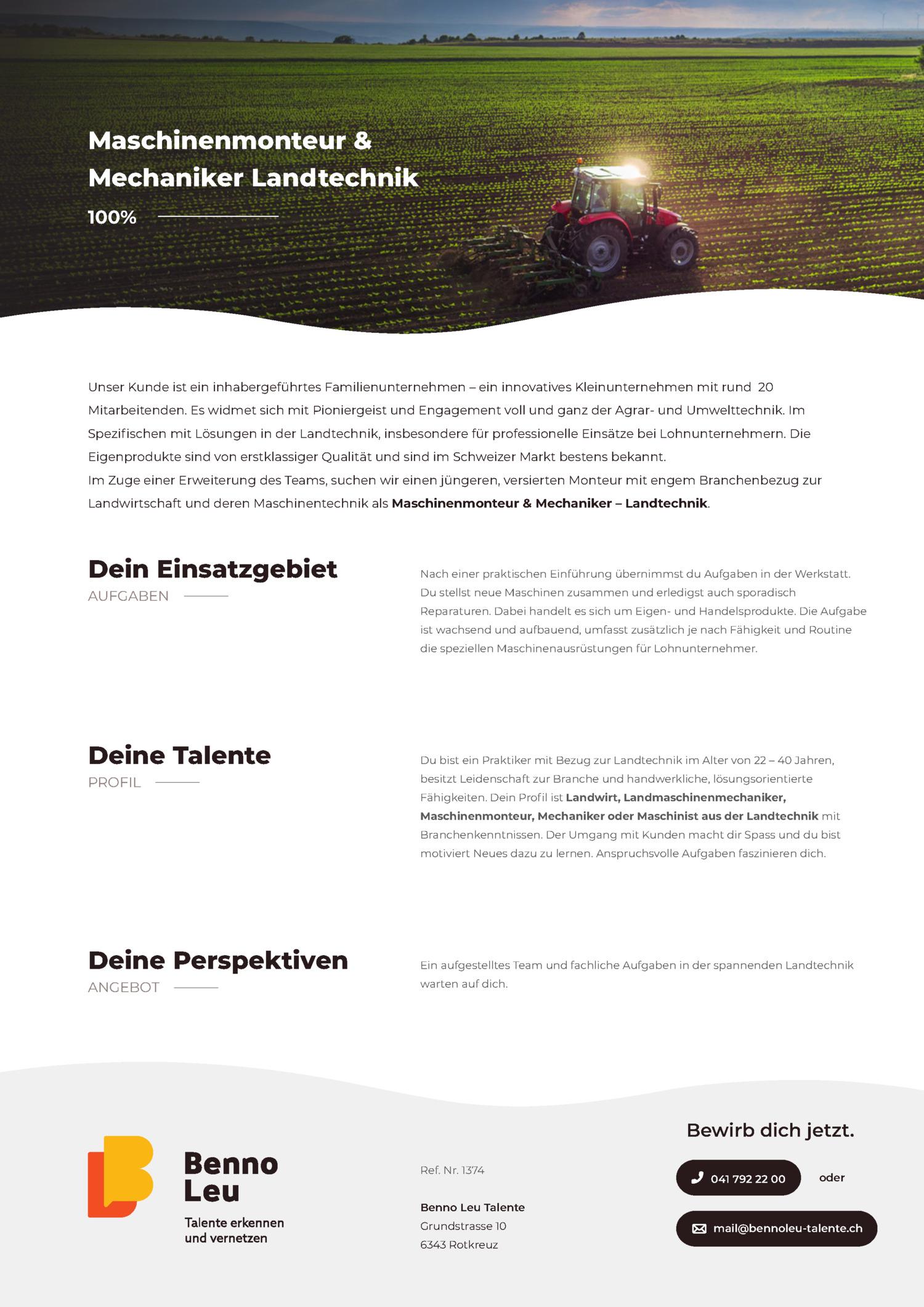 Inserat Maschinenmonteur & Mechaniker Landtechnik