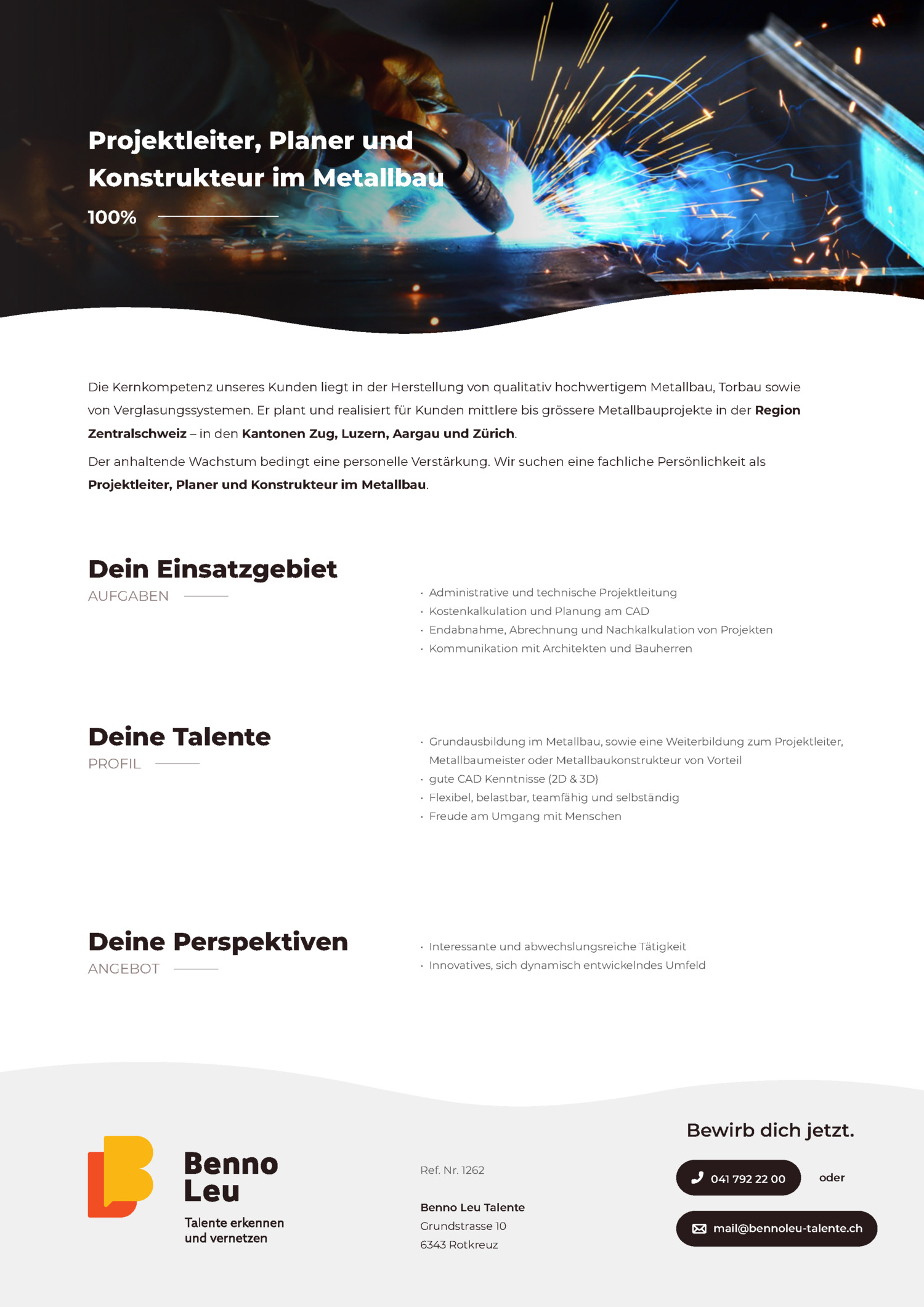 Inserat Projektleiter, Planer und Konstrukteur im Metallbau