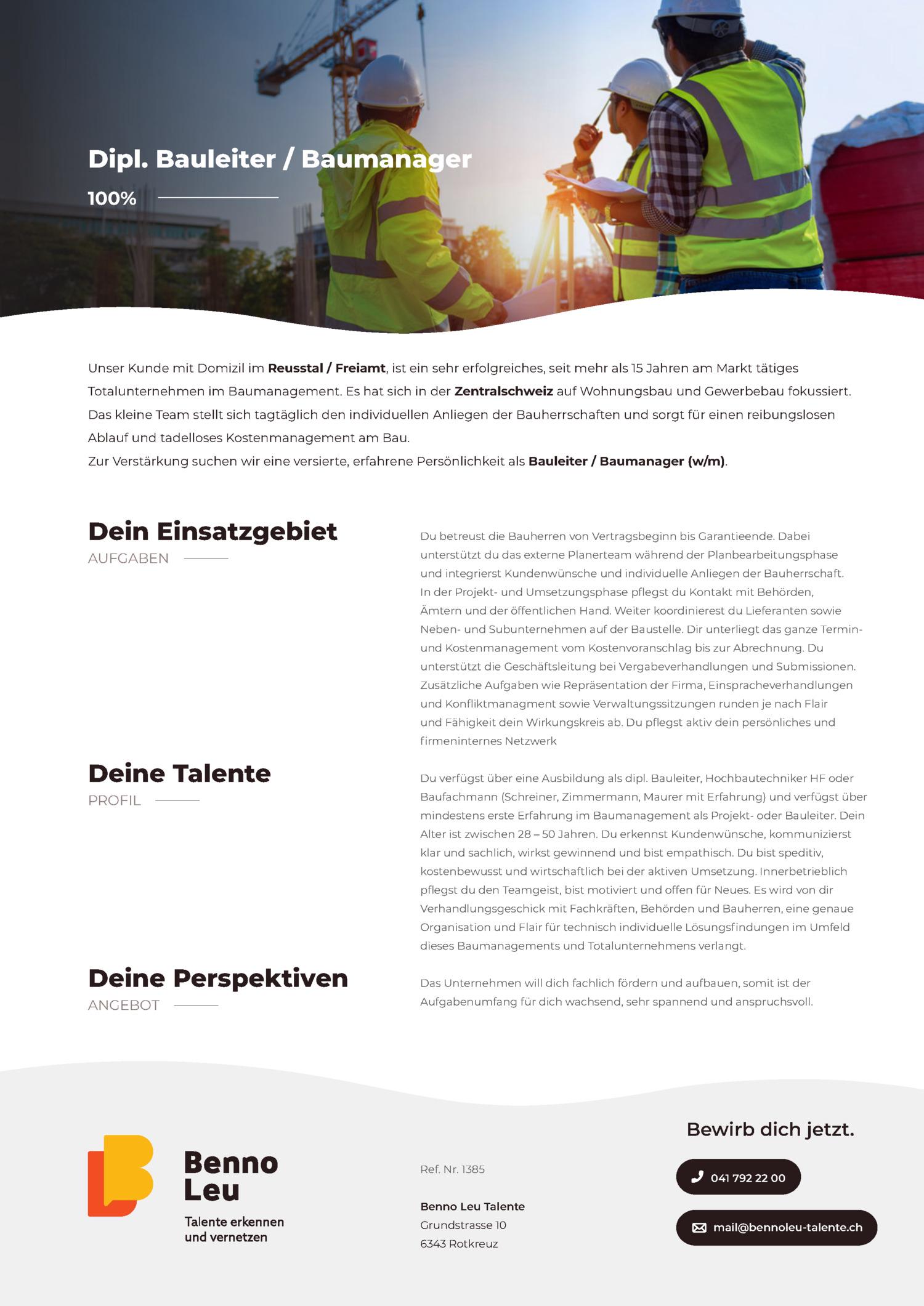 Inserat Dipl. Bauleiter / Baumanager