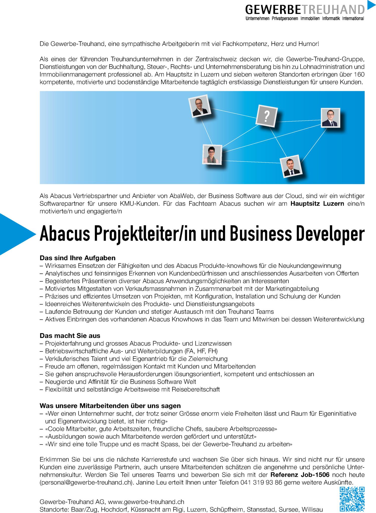 Inserat Abacus Projektleiter/in und Business Developer