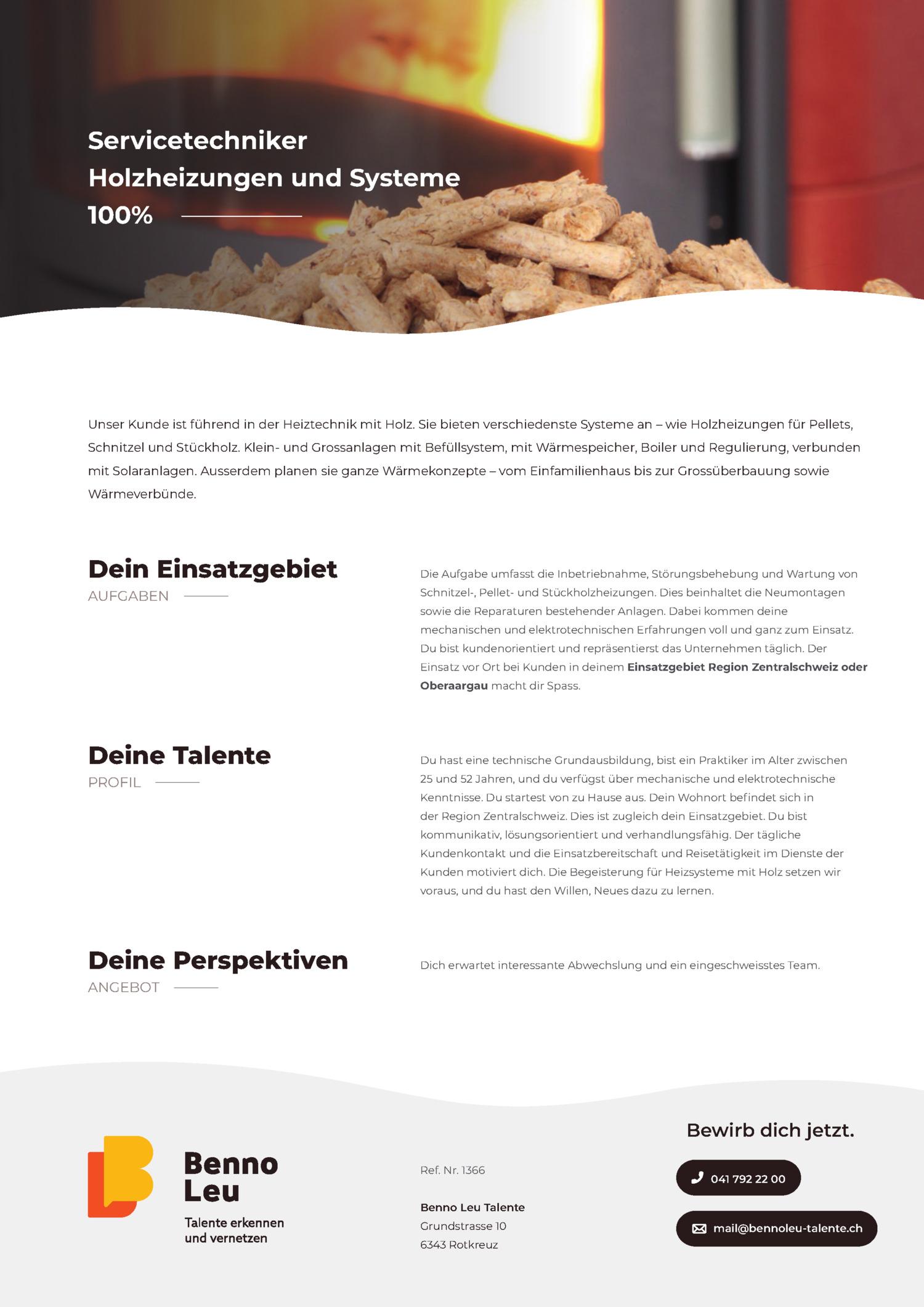 Inserat Servicetechniker Holzheizungen und Systeme - Zentralschweiz oder Oberaargau