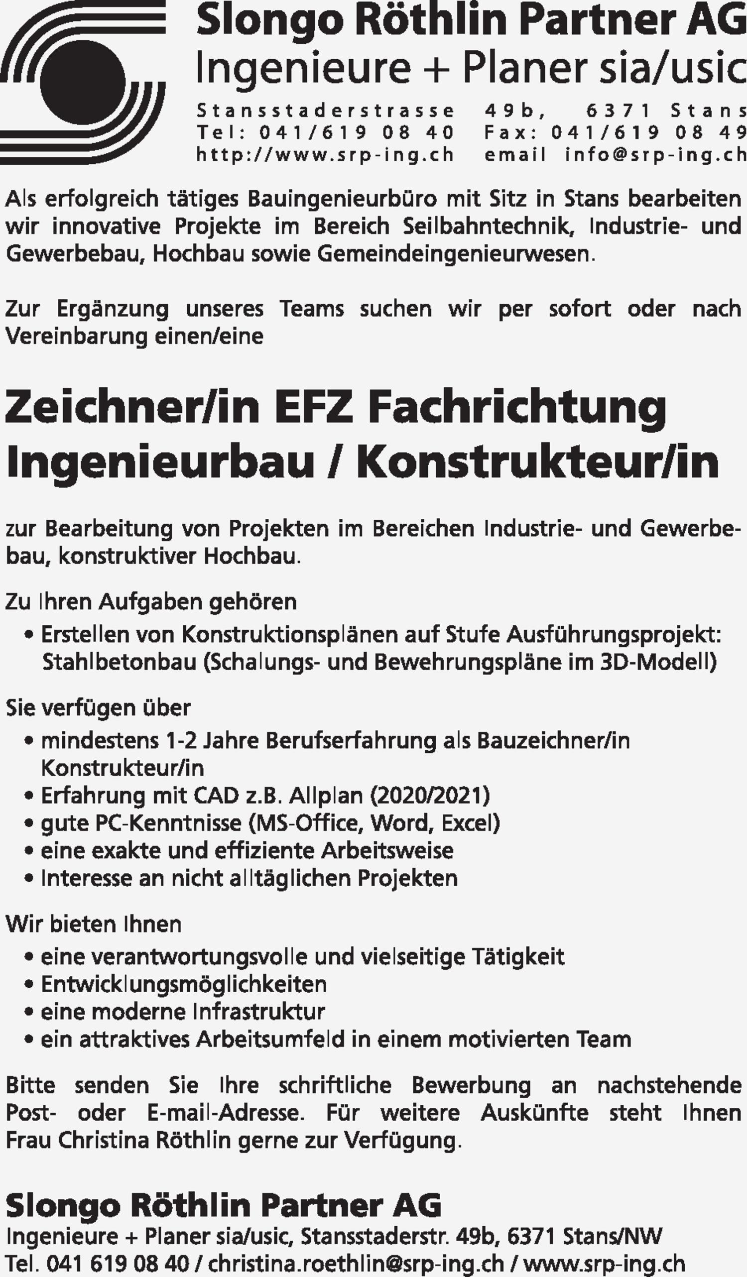 Inserat Zeichner/in EFZ Fachrichtung Ingenieurbau / Konstrukteur/in
