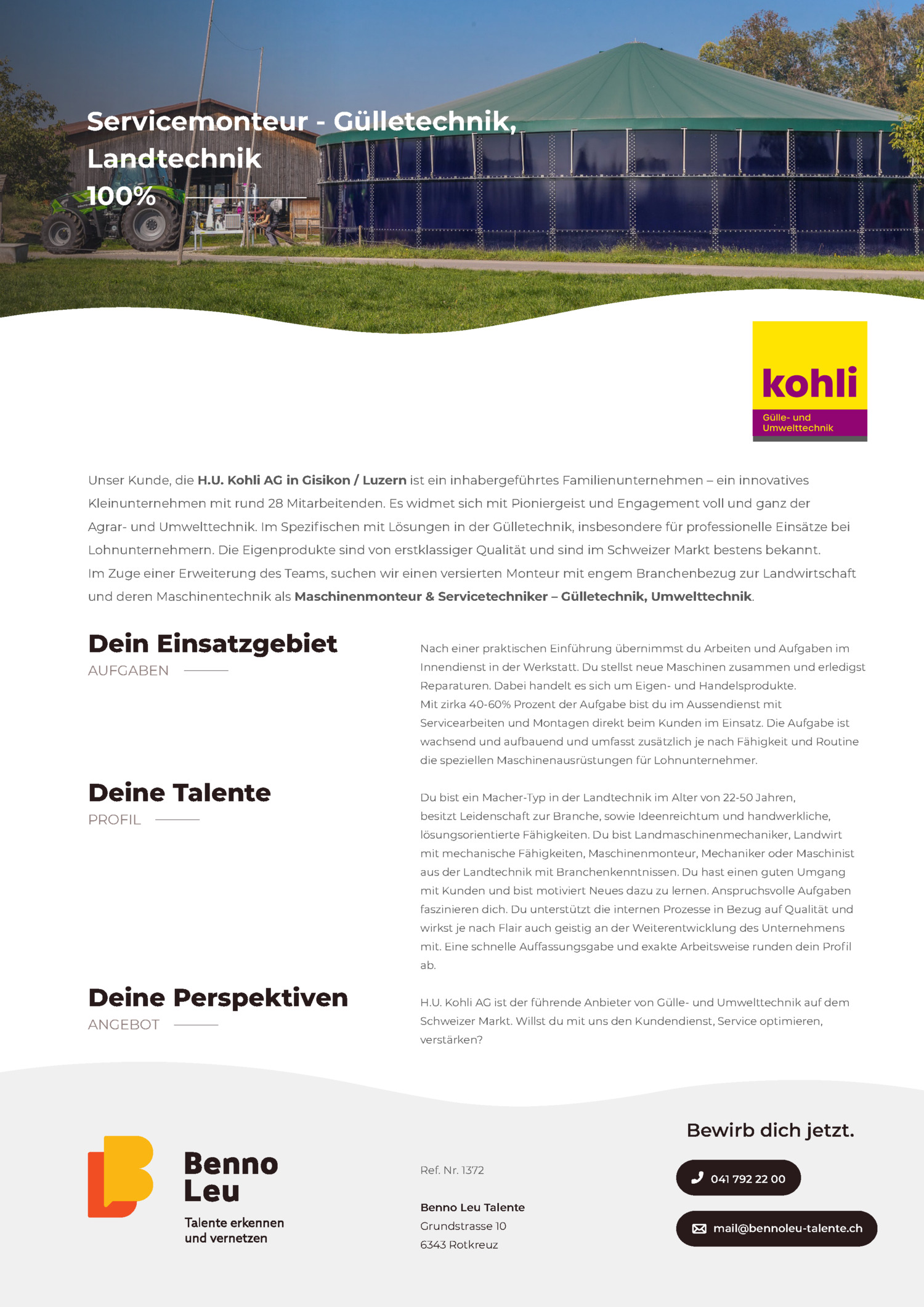 Inserat Servicemonteur - Gülletechnik, Landtechnik