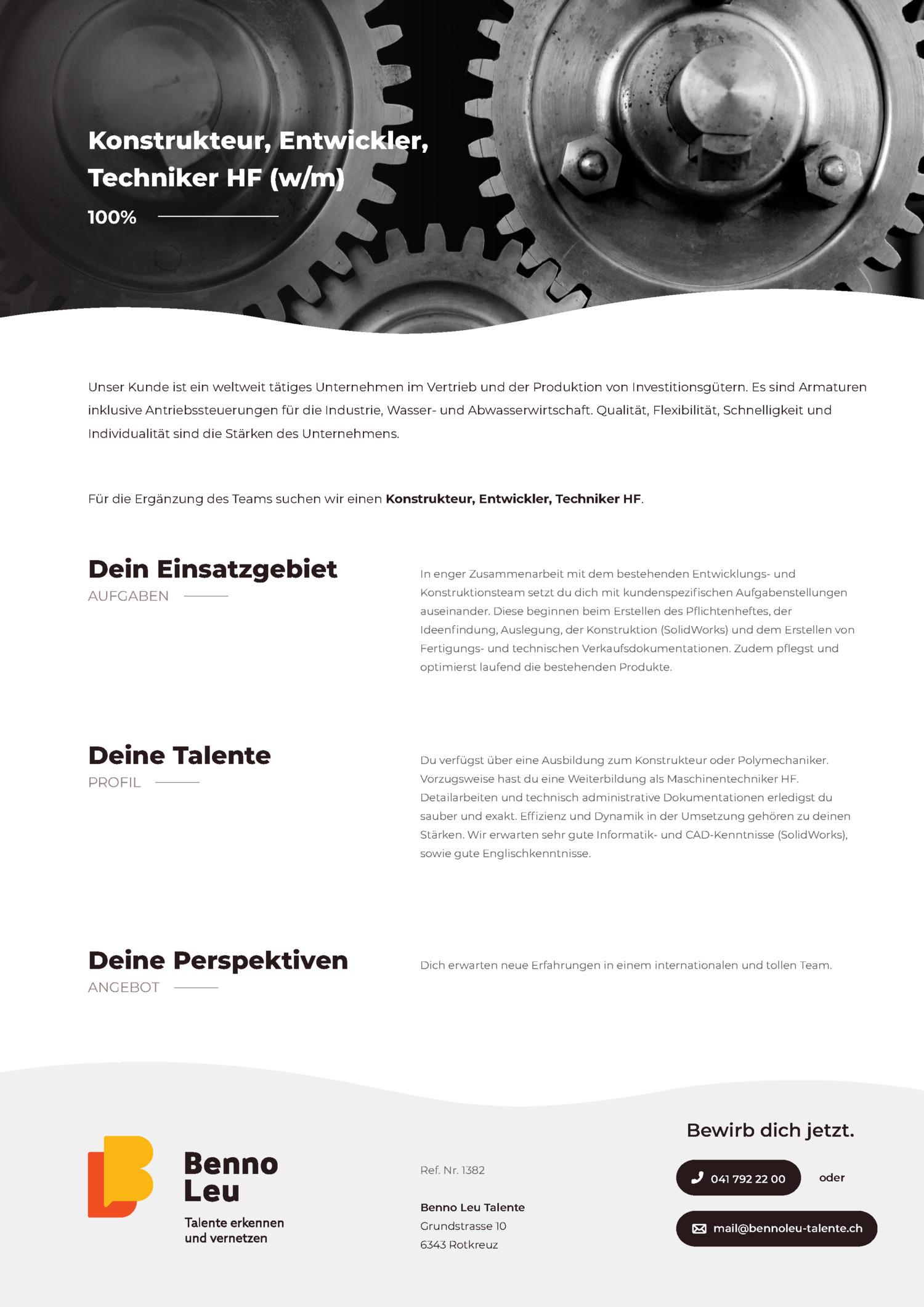 Inserat Konstrukteur, Entwickler, Techniker HF (w/m)