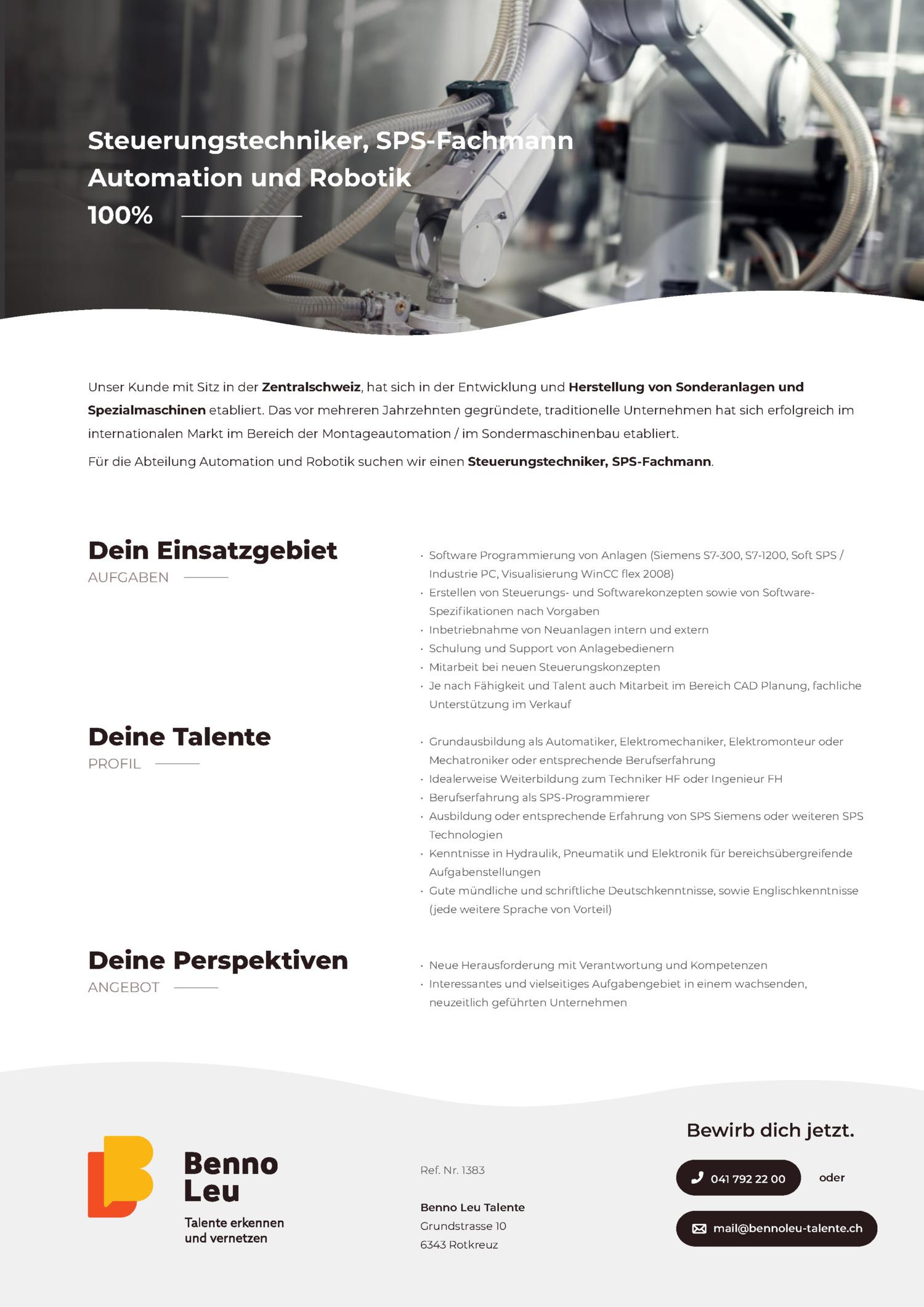 Inserat Steuerungstechniker, SPS-Fachmann - Automation und Robotik