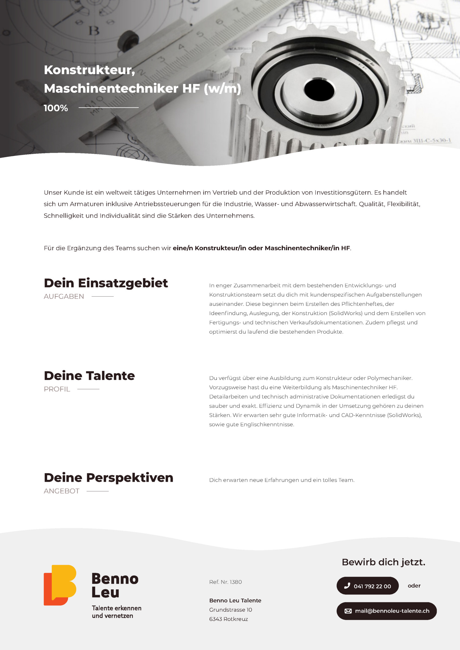 Inserat Konstrukteur, Maschinentechniker HF (w/m)