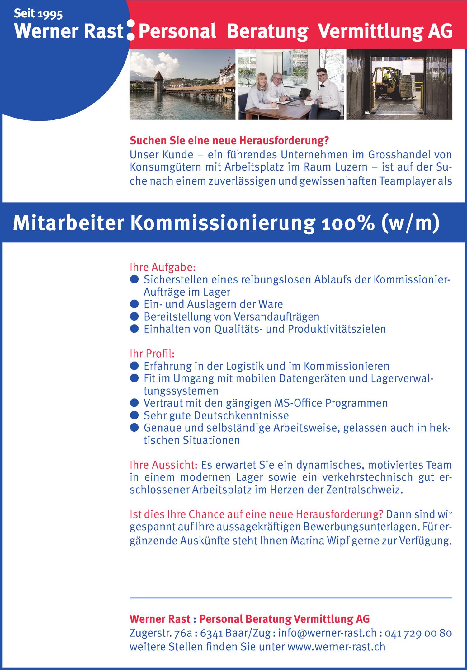 Inserat Mitarbeiter Kommissionierung 100% (w/m)