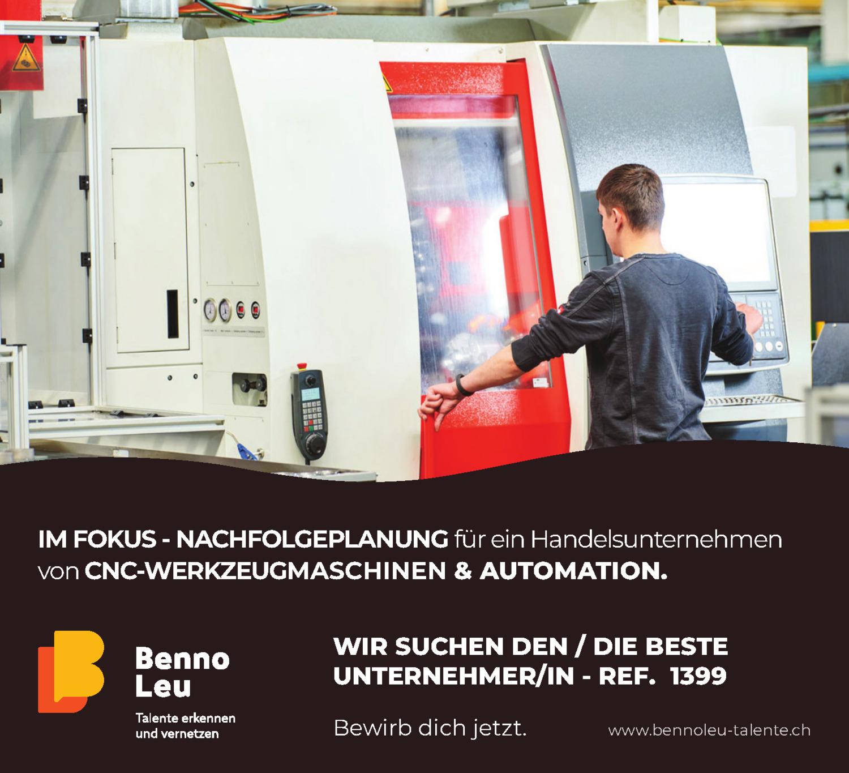 Inserat Nachfolgeplanung für ein Handelsunternehmen von CNC-Werkzeugmaschinen & Automation