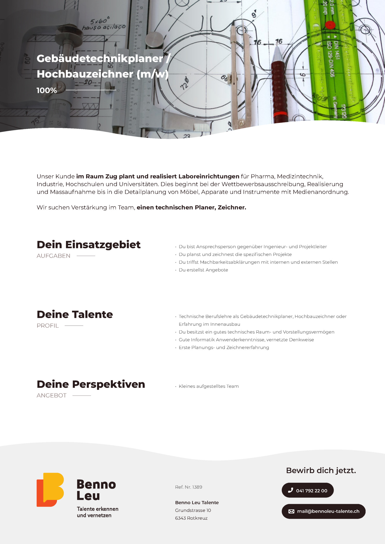 Inserat Gebäudetechnikplaner, Hochbauzeichner (m/w)