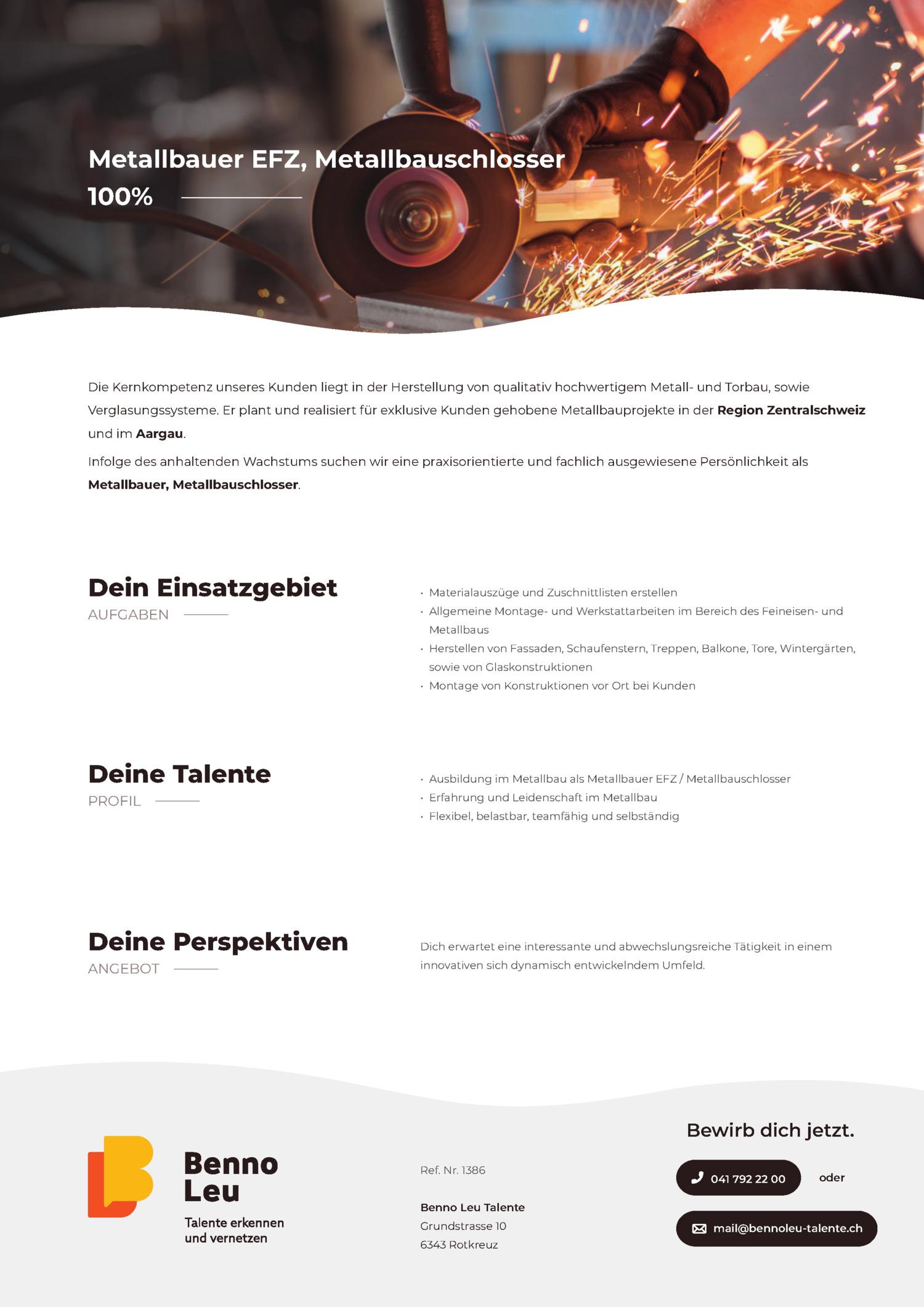 Inserat Metallbauer EFZ, Metallbauschlosser