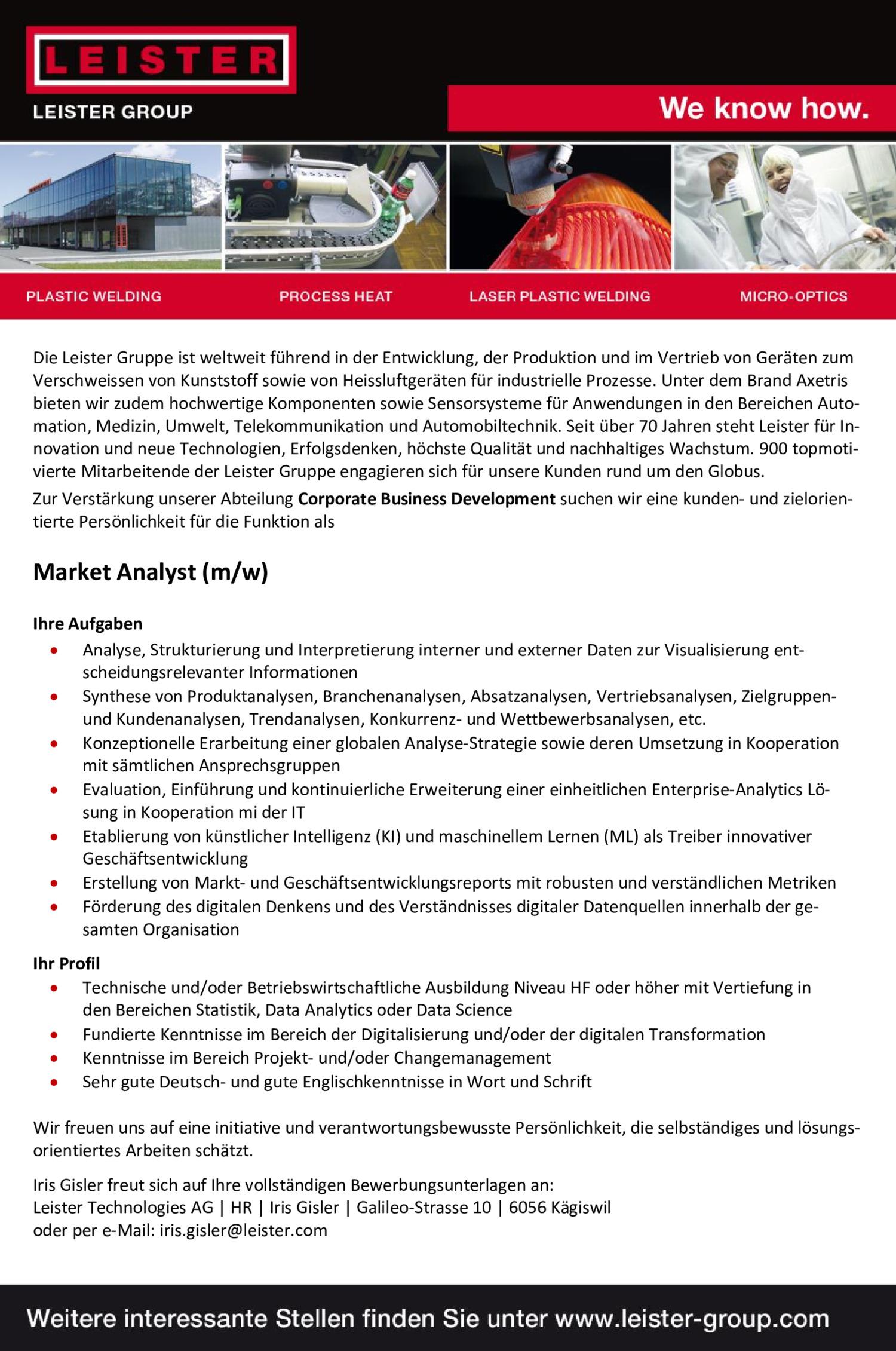 Inserat Market Analyst (M/w)